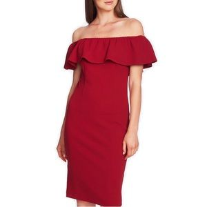 1.State Off-the-Shoulder Flounce Dress Lush Berry